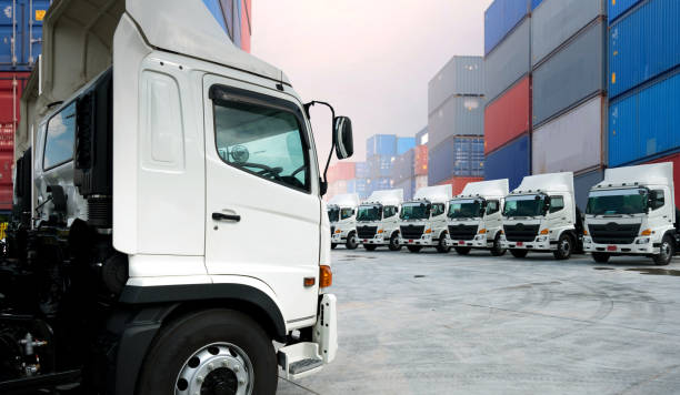 Camion de transport routier avec un chargement de marchandises dans un container